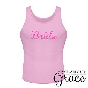 Pink Singlet Bride Bridesmaid Bridal Party Hens Night Personalised Tank Top Tee