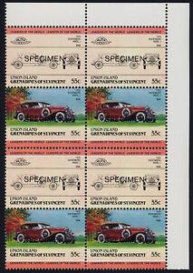St Vincent Grenadines Union Is 147 TR Block Specimen o/p MNH Car, Dusenberg