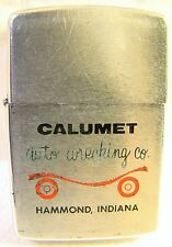 Vintage Zippo 1957 Advertising Calumet Auto Wrecking Lighter Sparking Well
