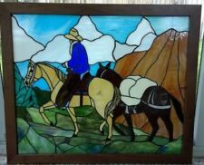 Stained Glass ART Mountain Scene Horse Rider with Pack Horse **NICE**