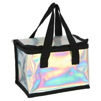 Iridescent Silver Black Lunch Bag Cooler Picnic Travel Ideal For School & Work