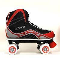 NEW CALIFORNIA PRO STORM QUAD ROLLER SKATES UNISEX SKATING BOOT BLACK / RED UK