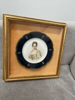 Antique French Sevres Porcelain Plate Queen Marie Leczinska Signed Gebrie