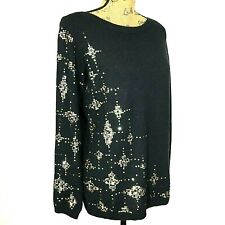 Diane Gilman S Silk Cashmere Sweater Black Sequin Star Long Sl Pullover Tunic LN