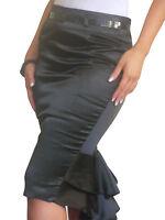 Skirt Womens Ladies Bodycon New Stretch Plain Pencil Midi Size 8 10 12 14 16 18