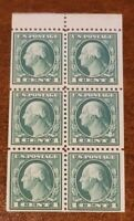 Scott# 498e - 1c Green - Washington - perf 11 booklet pane of 6 - MNH