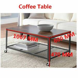 Coffee Table for Living Room 42 inch length Steel Frame with wooden plate tables