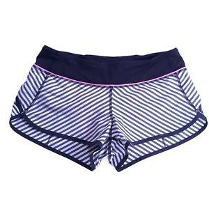 LULULEMON Run Speed Shorts UK 12 Classic Stripe Black / White  US 8 Lined Pocket