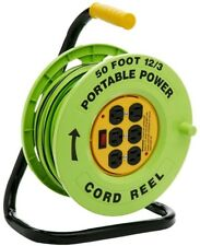 50 ft 12/3 Cord Portable Reel Station 6 Outlet Extension Electric Power Cable