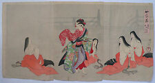 1905 Japanese Original Old Antique Woodblock Print Triptych Of Dancing Beauty