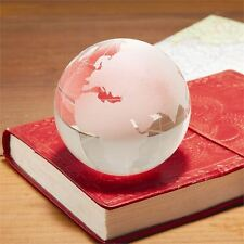 Glass Globe Paperweight Art Deco Desk Clear Etched Small Gift