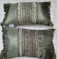 Croscill Tangier Metallic Paisley Decorative Throw Pillows, Pair NWOT