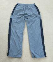 VINTAGE Nike Pants Adult Large Blue Gray Swoosh Warm Up Windbreaker Mens 90s *