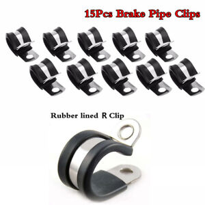 """15Pcs Brake Pipe Clips Rubber Lined P Clips 3/18"""" lines R clips"""