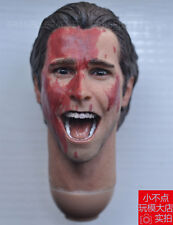 1/6 scale Shouting American Psycho Christian Bale Head Sculpt bloody face #B