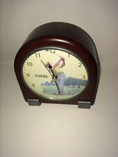 Very Rare vintage 90s Fossil Golf Clock with wood exterior limited production