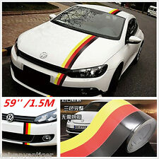 59''/1.5M Germany Flag Stripe Car Hood Vinyl Sticker Modifield Body Decal Emblem