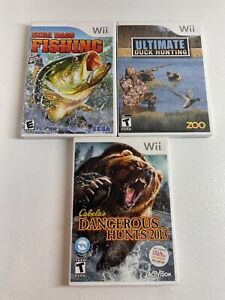 Wii Hunting Fishing bundle Sega Bass, Ultimate Duck & Cabela's Dangerous 2013