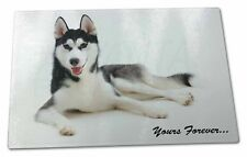 Siberian Husky 'Yours Forever' Extra Large Toughened Glass Cutting,, AD-H55yGCBL
