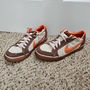 2007 Nike SB Dunk Low 317379-281 Brown Beige Canvas Swoosh Orange Mens Size 9.5