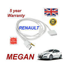 Renault Megan Audio system iPhone 3GS 4 4S iPod USB & 3.5mm Aux Cable white