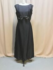 Vintage Black Sleeveless Maxi Dress Bow Accented Empire Waist 36 Bust
