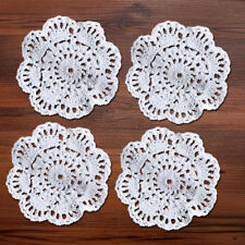 Set of 4 White Cotton Lace Doily Round Hand Crochet Coaster 4inch