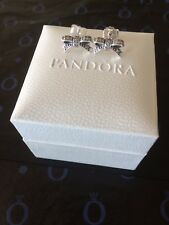Genuine 925 Silver Pandora Delicate Bow Earrings