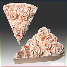 Wedding cake slice with Rose n icing top, 3D, silicone Soap/Candle/Plaster Mold