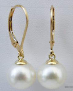 classic pair of 10-11mm south sea round white pearl earring 14k
