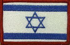 ISRAEL Flag Embroidered Iron-On Patch Shoulder Jewish Emblem Red Border #055
