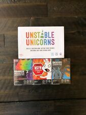 New Unstable Unicorns Base and 3 Expansions Purple, Red, and Blue Fast Shipping