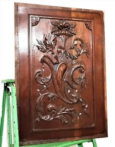 Scroll leaves armorial decorative carving Antique french architectural salvage