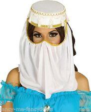 Ladies White Arabian Arab Headdress Head Cover Fancy Dress Costume Outfit Hat