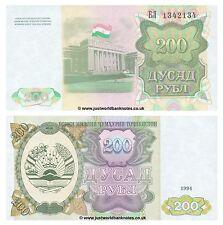 Tayikistán 200 rublos 1994 P-7 Antigua URSS Billetes Unc