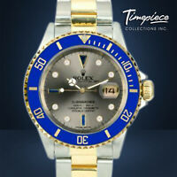 Rolex Watch Mens Submariner 16613 Gold / Steel w/Silver Diamonds Sapphire Blue