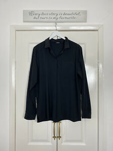 Rohan Top UK 16 Blue Black Blouse LEEWAY SHIRT Button Up Relaxed Fit Collared