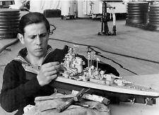 WWII B&W Photo German Sailor Builds Model on Tirpitz  / 2295  NEW