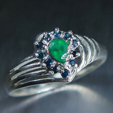 0.2ct Natural Colombian Emeralds & sapphires Sterling 925 Silver engagement ring