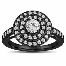 GIA Certified Diamond Engagement Ring 14K Black Gold 1.07 Carat Double Halo Pave