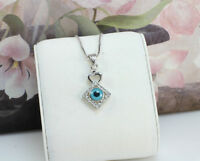 18K White Gold Filled Blue Evil Eye Heart Amulet Pendant/Necklace,Simple Design