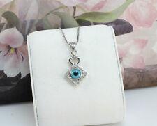 18K White Gold Filled Blue Evil Eye Heart Amulet Pendant/Necklace,Simple Design