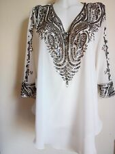NUOVO Argento Paillettes Camicetta Bianco Gilet Camicie WEDDING Top Tunica Caftan PARTY SEXY