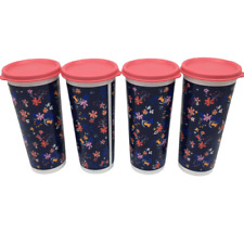 Tupperware Tumbler Cups with Pink Lids Set of 4 NEW