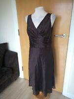 Ladies Dress Size 14 MONSOON Brown Chiffon Party Evening Wedding Races