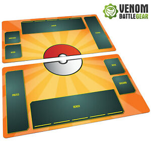 Pokemon Playmat TCG 2 mat set Fabric, Rubber backed - Card Game - Stadium Flame