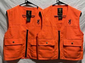 Lot Of 2! Bright Blaze Orange Browning Safety Overlay Vest Small Junior Hunting