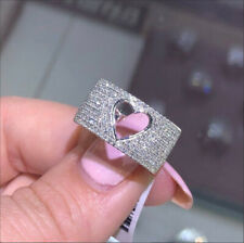 Elegant Women Ladies 925 Silver Diamond Heart Ring Wedding Rings Jewelry Sz 9