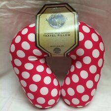 Worlds Best Spungee Neck Support Travel Pillow Pink (reddish) & White Polka Dot
