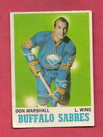 1970-71 OPC  # 129 BUFFALO SABRES DON MARSHALL  CARD